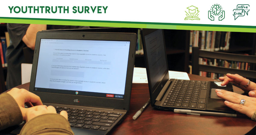 Close up photo of laptops as people complete an online survey