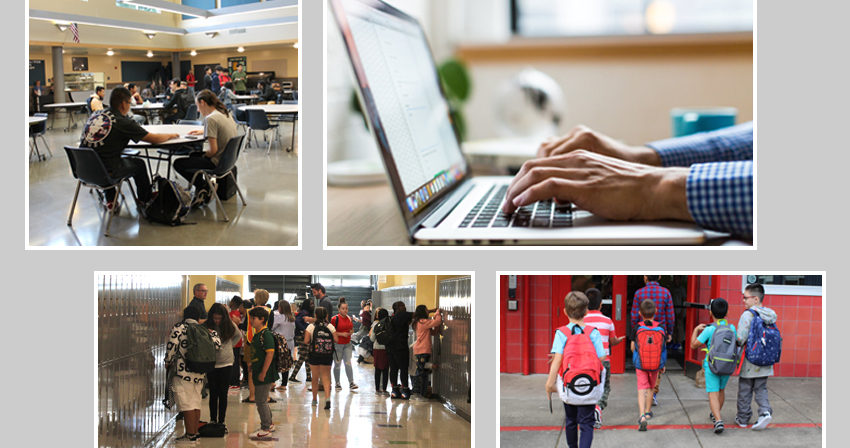 Photo Collage: Close up of hands typing on laptop, Students in Commons, in RRMS Hallway, kids with backpacks entering school front door